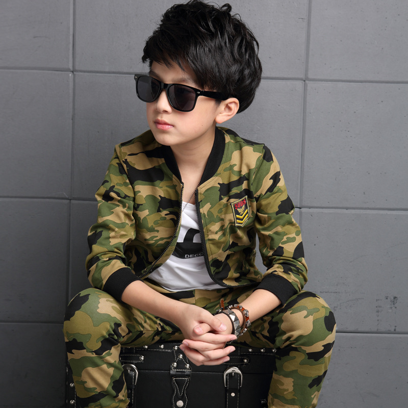 ФОТО 2017 Kids Clothes Boys 2pcs Set Toddler Kids Wear Boy Clothing Set for Boy Spring Camo Camouflage Sports Suit 6 8 10 12 14 Years