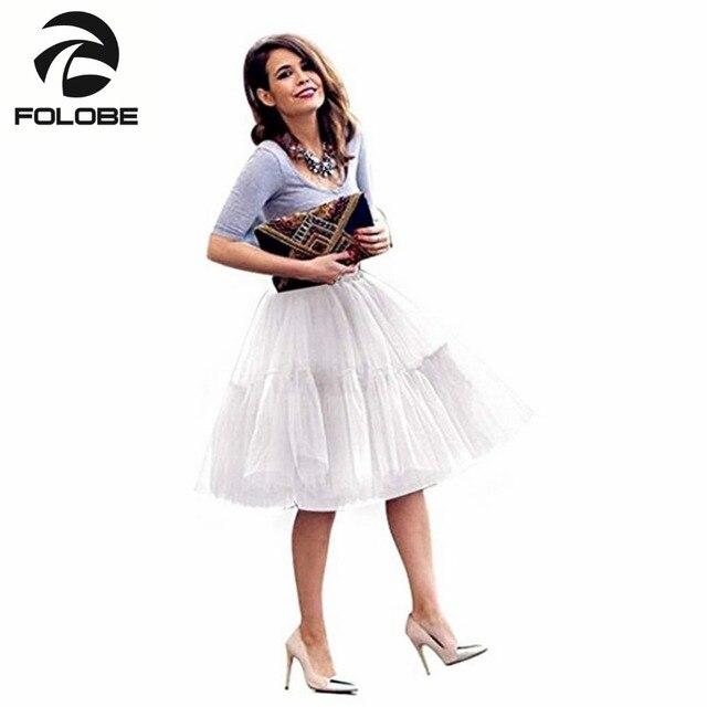 3376a34ababe US $18.89 30% OFF FOLOBE Weiße Vintage Dance Promi Tüll Röcke Frauen Midi  Rock Prinzessin Erwachsenen Tutu Ballkleid Faldas Saias in FOLOBE Weiße ...