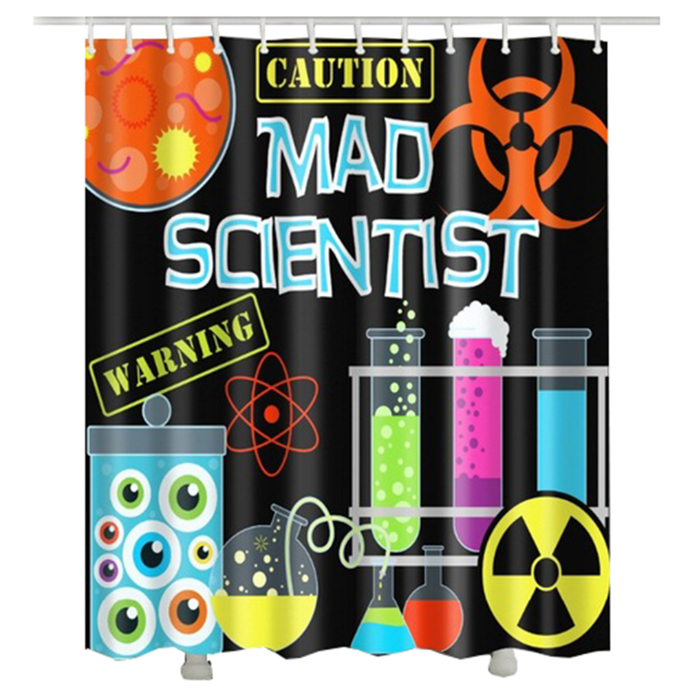 mad Scientist shower curtain waterproof new arrival caution test tube laboratory bathroom curtain for shower
