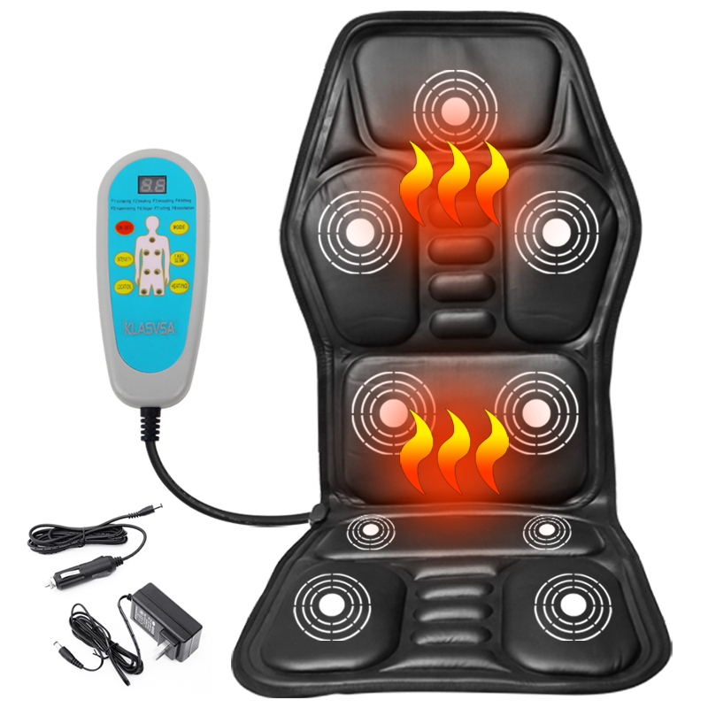 KLASVSA Heating Neck Massage Chair For Back Seat Topper Car Home Office Massager Vibrate Cushion Back Neck Relaxation black heated back massage car home office chair seat topper car home office seat neck massager heat vibrate cushion relaxation