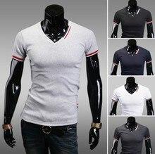 2018 Summer T Shirt Men 'S Clothing Male Casual Short -Sleeve Slim V Collar T Shirt Men ,5 Colors ,Size M -Xxl цена