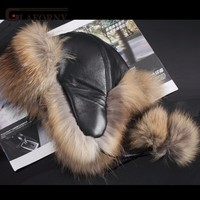 2017 Winter Unisex Fox Fur Hat Sheepskin Hat Fox Raccoon Fur Hat Ladies Winter Headgear Russian