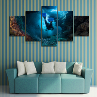 Framed 5 Panels Diving Seaview Scenery Canvas Print Painting Modern Canvas Wall Art for Wall Pcture Home Decor Artwork