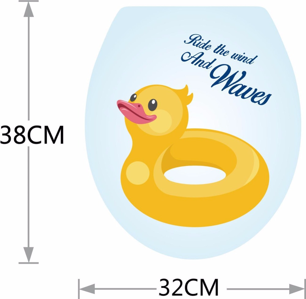 Yanqiao Cute Duck Toilet Cover Wall Sticker Reusable Bathroom Decal ...