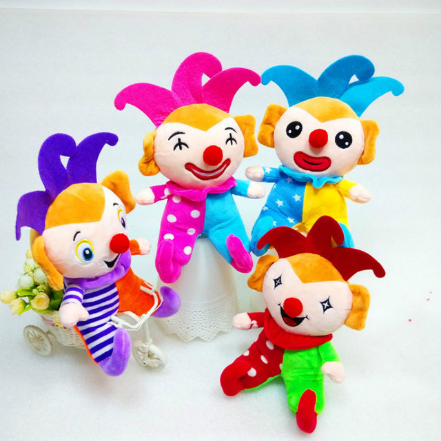 Random 4pcs Lovely Happy Circus Clown Plush Doll Baby Toys Kids Stuffed Dolls Halloween Gift for Children One Piece 9in