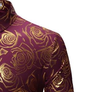 Image 5 - Brand Wit Nachtclub Shirt Mannen Shiny Bronzing Rose Bloem Chemise Homme Party Bruiloft Diner Prom Heren Dress Shirts Slim Camisa