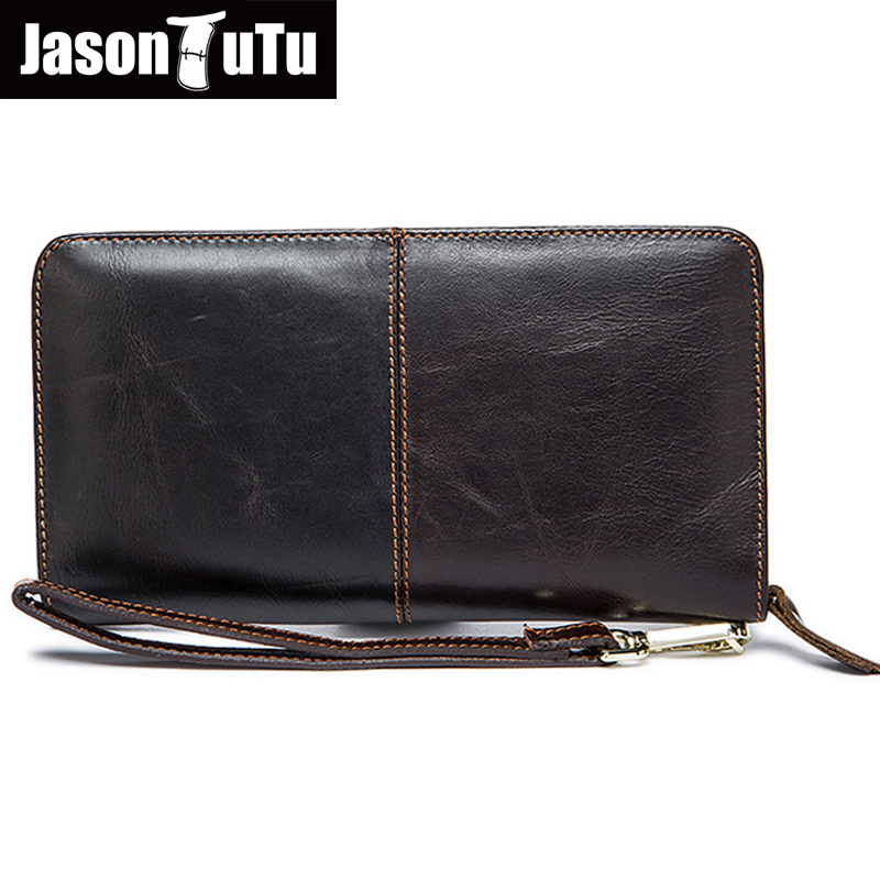 JASON TUTU Genuine Leather men wallets Top layer Cow Leather long wallet Multi-card bit Business Purse realer HN134