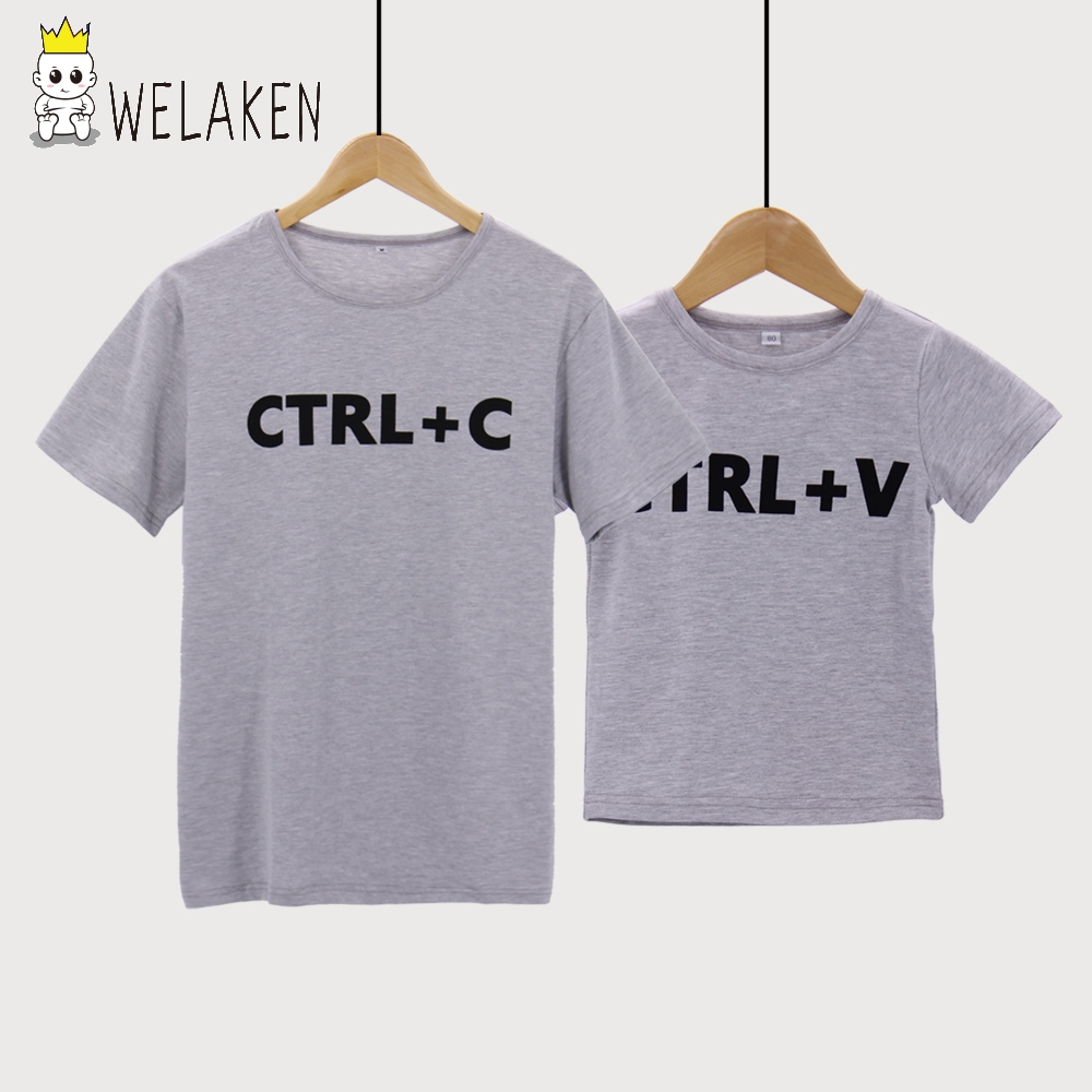 Welaken cute dad baby matching clothes ctrl c ctrl v T shirts for dad