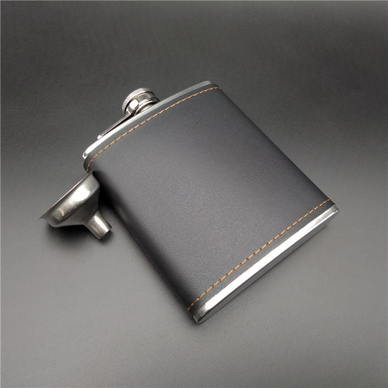 Alalinong 7 Ounce Hip Flask Stainless Steel Pu Leather Covered Flask Canteen Gadgets for Man Liquid Whisky Vodka Bottle