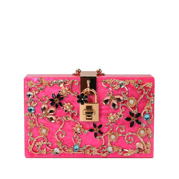 The new high-quality customized wholesale acrylic bag hand bag bag lady diamond box diagonal Yanbao lock YF