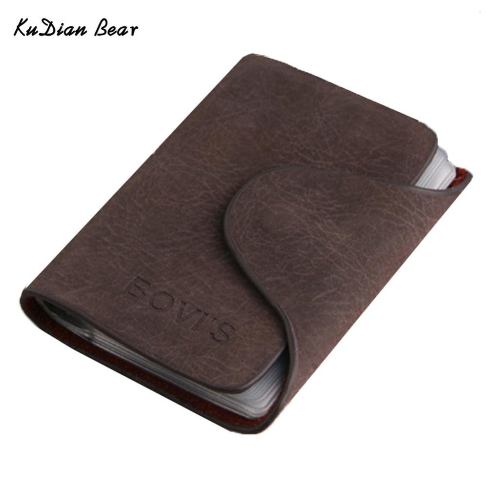 KUDIAN BEAR Credit Card Holder 20 Bits Business Card Holder Rfid Men Cards Holders Porte Carte Free Shipping--BIH016 PM30