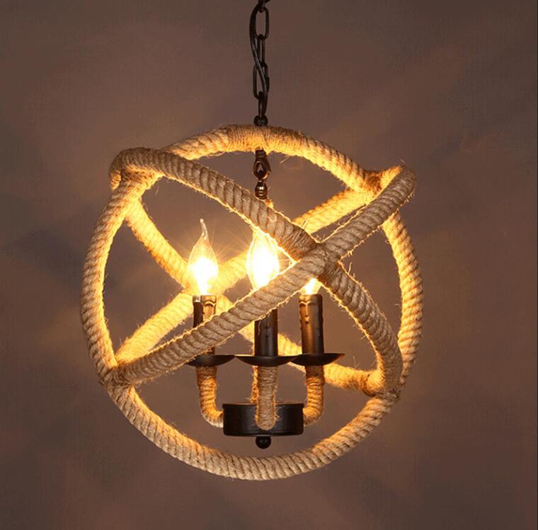 3 lumières Vintage industriel pendentif lumière lampe chanvre corde Cage éclairage Loft café Bar Restaurant