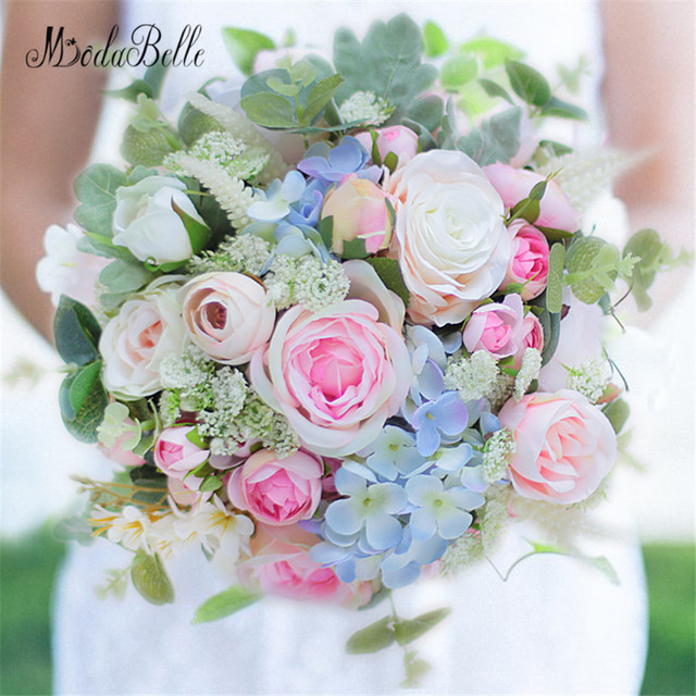 Modabelle Artificial Flower Wedding Bouquet Green Pink Peony Rose Bridal Styles Ramos De Novia Real