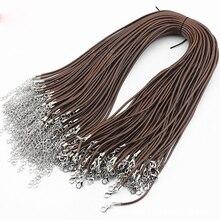 10 шт 45+ 5 см кожаное резиновое ожерелье 0,2 см подвеска серебряная Clsap составные части ожерелья использовать аксессуары ручной работы