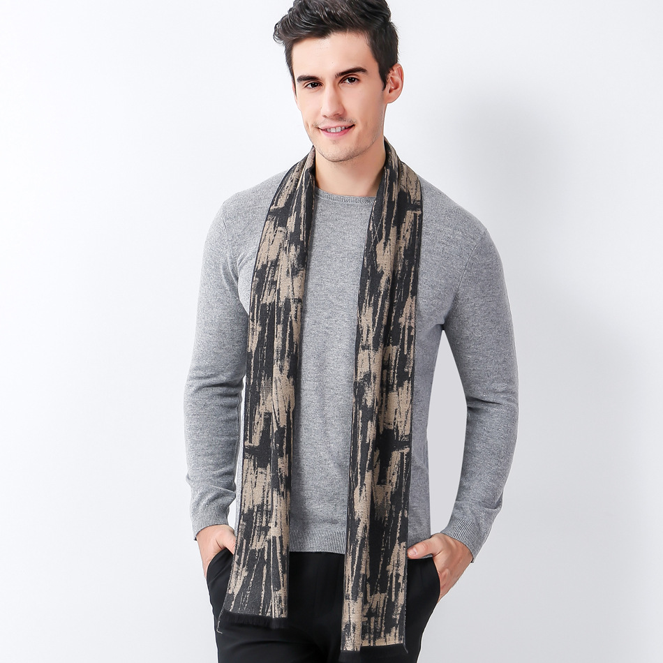 Scarf Luxury Brand Designer Men Classic Winter Scarf Warm Soft Tassel Shawl Wrap Sick Sc ...