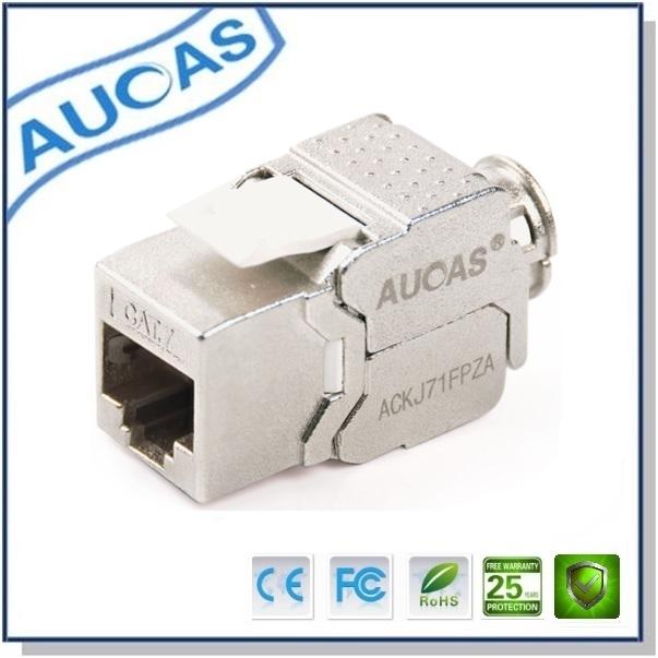 Prix pour Aucas En Alliage de Zinc 10 pcs Cat7 RJ45 FTP façade patch panneau module modulaire plug connecteur blindé cat7 Keystone Jack