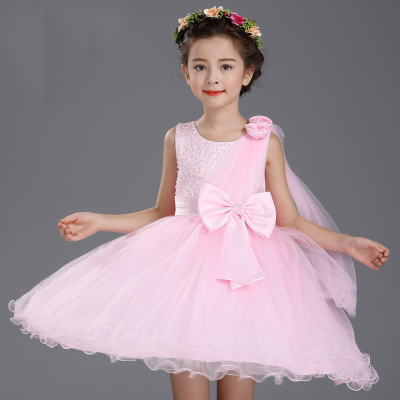 Fashion Summer Wedding Lace Tulle Flower Girl Dress Princess Big Bow Belt Ball Gown Party Kids Girls Vestido for 12 Years