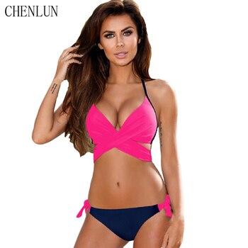 CHENLUN 2018 Sexy Bikini Swimsuit Women Push Up Swimwear Cross Bandage Halter Bikini Swimsuit Beach Swimwear Set XXL 1