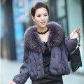Женская полный пелт реального кролика шуба верхняя одежда женщин длинные рукава зимний мех куртка с природных енотовидная собака меховым воротником g2915
