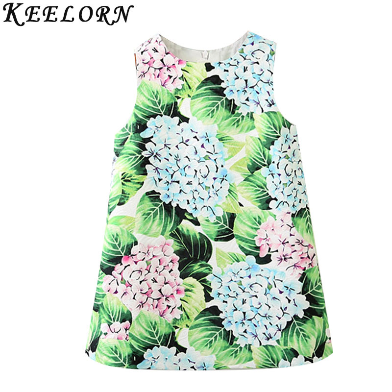 Keelorn Girls Dress Summer Style 2017 Brand Kids Princess Dresses European and American Style Flowers Printing Children Clothing