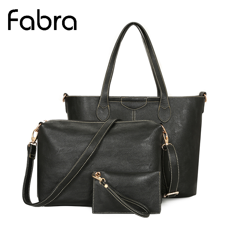 Fabra Winter New Women Messenger Bags Big Handbags PU Leather Cross Body Shoulder Composite Bag 3Pcs/Sets Black 41*9*31 cm fabra women cute cartoon pu leather