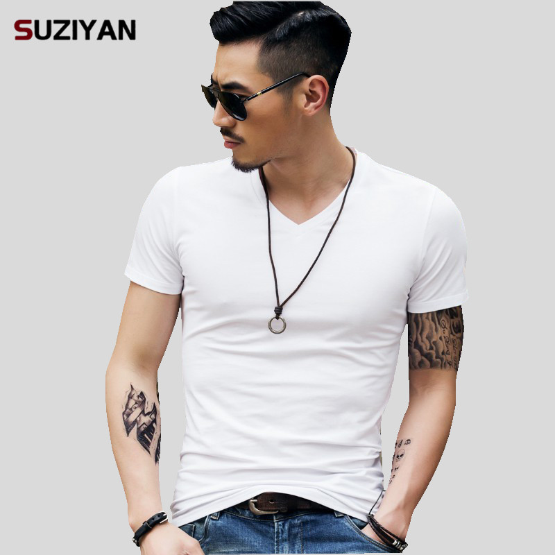 Tshirt Man Plus Size 5XL Men's Tops Tees Trends Fitness 2019 Summer V Neck Off White Short Sleeve   T     Shirt   Men Fashion Elastic