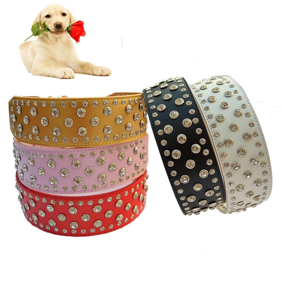 Mode Diamante Dog Collar Besar 2 Inch Lebar Pu Kulit Kerah Untuk - Produk hewan peliharaan - Foto 3