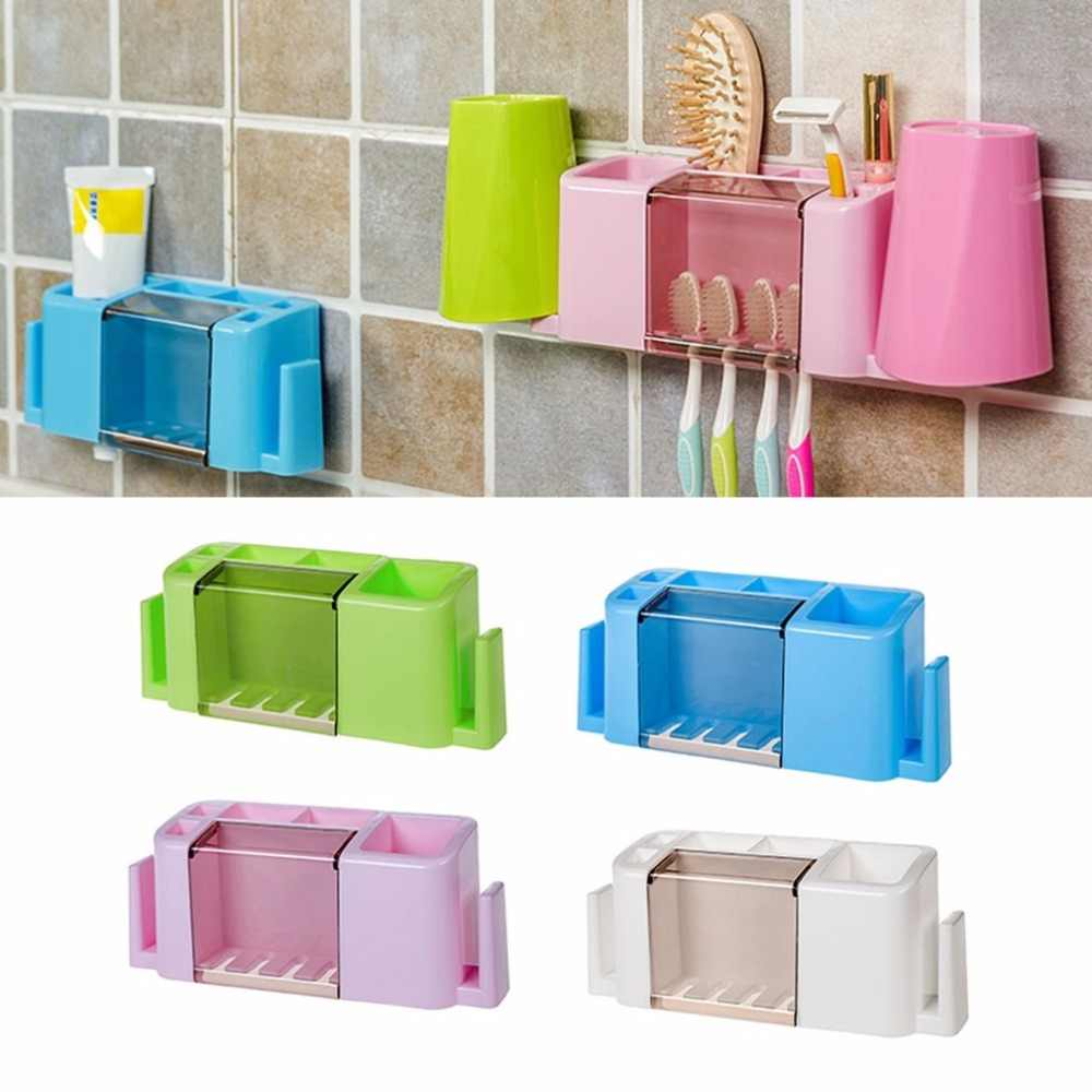 Multifunctional Toothpaste And Toothbrush Holder Creative Storage Case Organizer Box Bathroom Accessories Set For Home Use