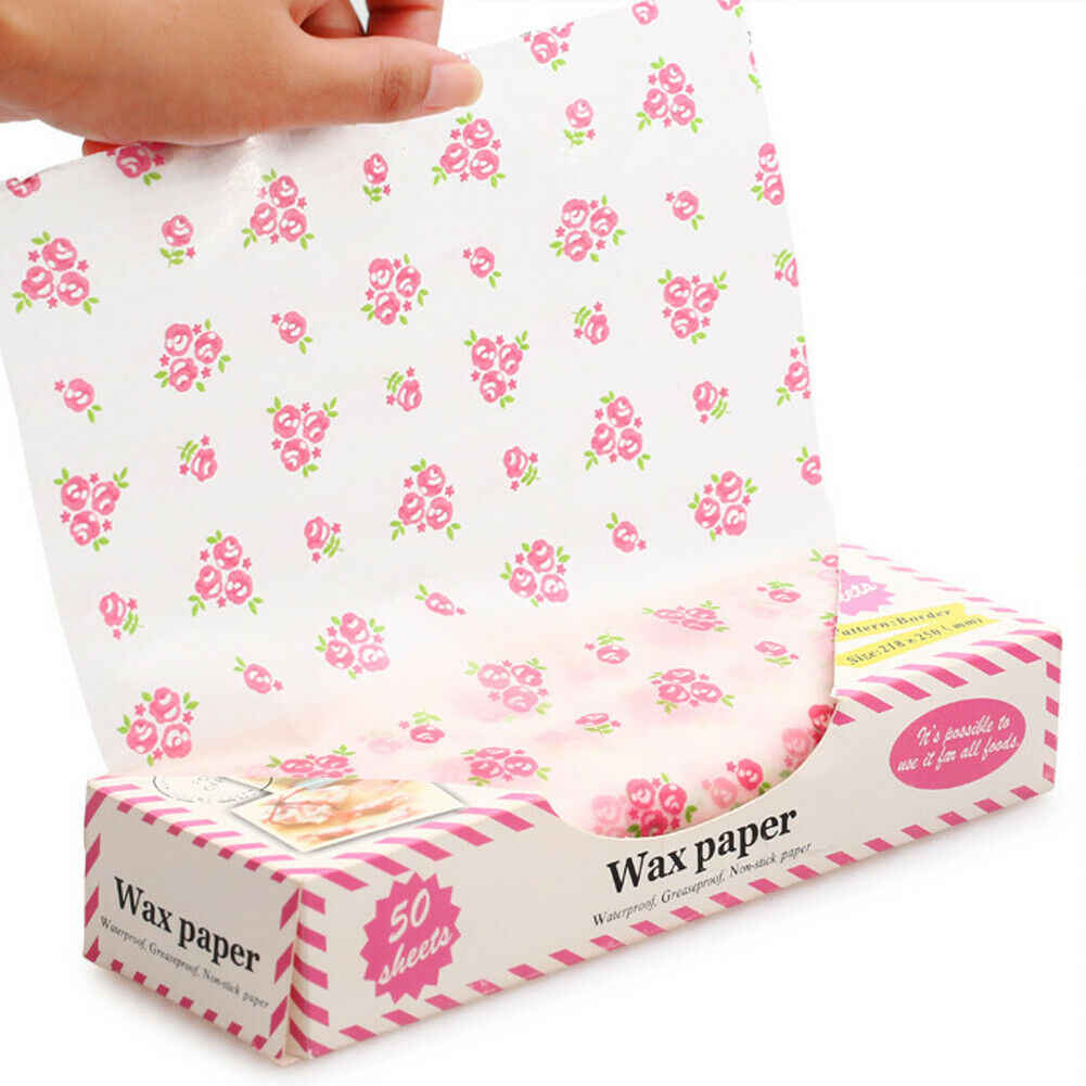 50Pcs Wax Paper Food Wrapping Paper Greaseproof Baking Soap Packaging Paper Sandwich Hamburger Food Candy Greaseproof Wax Paper