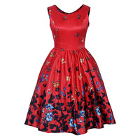 Sisjuly 2017 1950s Vintage O Neck Dress Summer Female Mid Calf Floral Print Elegant Party Dress