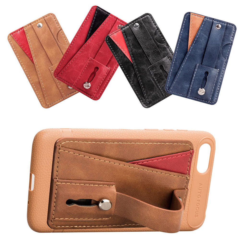 Universal Mobile Phone Bracket With Multifunctional Leather Wallet Card Slot Phone Stand Finger Holder Phone Holder