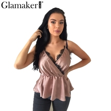 b789507ce3 Glamaker Sexy v neck basic lace women camisole Satin brown backless loose  summer
