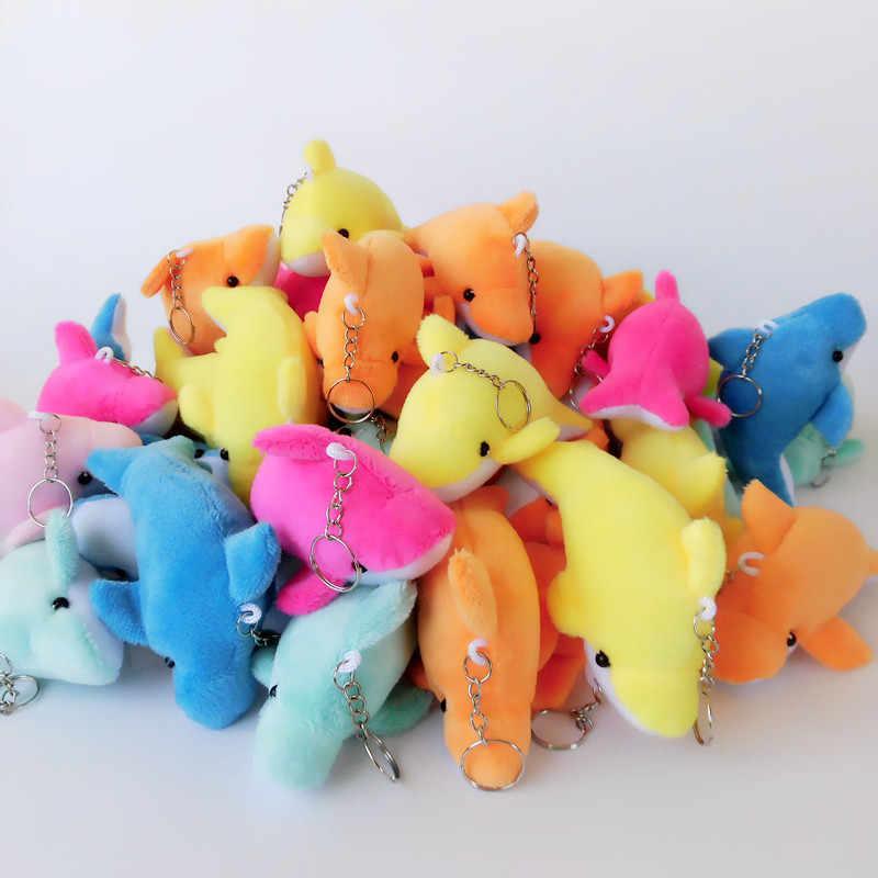 Moda Golfinho De Pelúcia Bonecas Chaveiro Anel Mulher Saco Encantos chaveiro Faux Rex Rabbit Fur Pompom Chaveiro Carro de Brinquedo Partido bugiganga