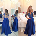 New Fashion Long Sleeves Long Royal Blue Evening Dresses 2016 With Applique Pearls For Women Chiffon Sheer Back Party Prom Gown