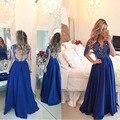 Nueva Moda de Manga Larga Largo Azul Real Vestidos de Noche 2016 con Apliques de Perlas Para Las Mujeres Gasa Sheer Volver vestidos de Baile vestido