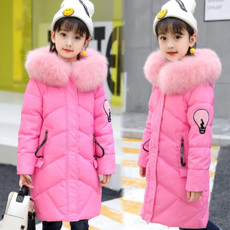 Fashion Fur Hooded Girls Winter Coat 2018 New Arrival Windproof Thicken Warm Kids Jackets Long Section Children Outerwear winter new arrival women s cotton padded long coat fashion fur collar hooded winter warm outwear coat jacket