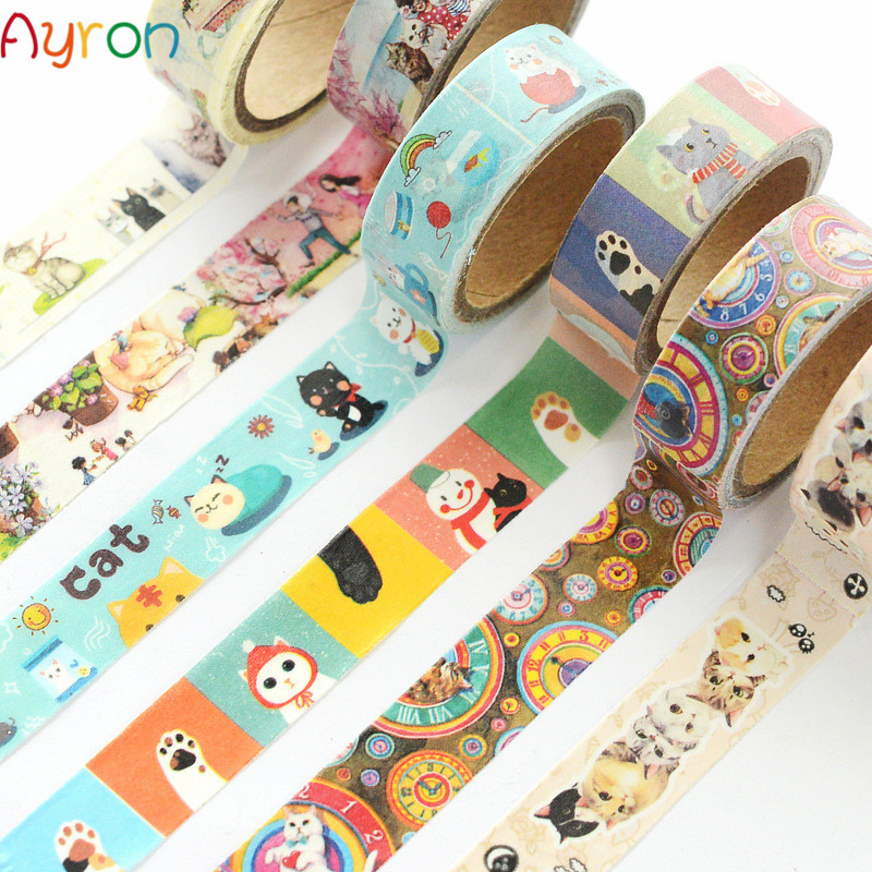 Cute cat theme Misstime Paper Masking Tapes Japanese Washi Tape Diy Scrapbooking Sticker Stationery School Supplies Papeleria number
