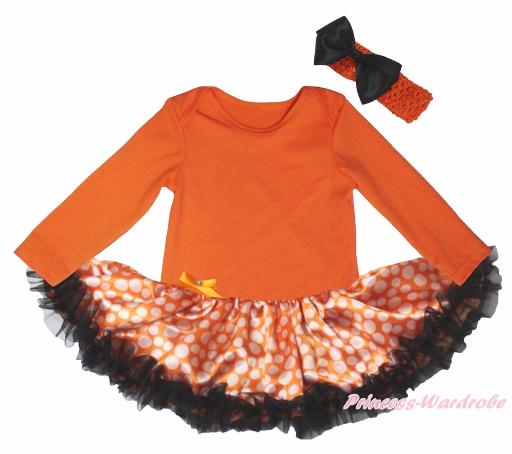 Мой первый день благодарения сожрать колебание 1st Хэллоуин Boo оранжевый L/S боди Обувь для девочек в горошек платье для малышей комплект одеж...
