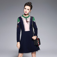 Contrast Spliced Embellished Dress Plus Size Women Beaded Long Sleeve Autumn Winter Dresses S To 4xl