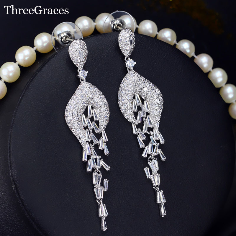 ThreeGraces Luxury Wedding Jewelry AAA Cubic Zirconia Pave Big Long Bridal Tassel Earrings For Women Evening