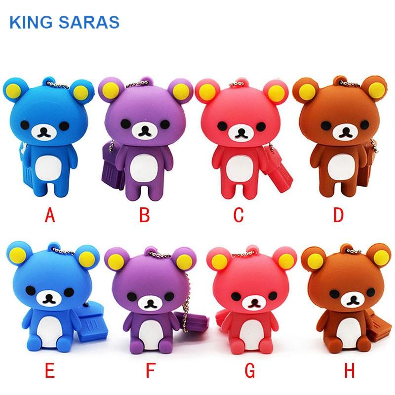 KING SARAS  Usb 2.0 USB Stick8 8 Model Mini Cute Bear USB Flash Drive Pen Drive 4GB 8GB 16GB 32GB Memory Usb Stick