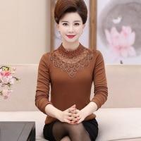 Fashion 2019 Spring Autumn Middle Aged Women Turtleneck Long Sleeve Lace Blouses Ladies Tops Blusas Shirts Plus Size 5XL