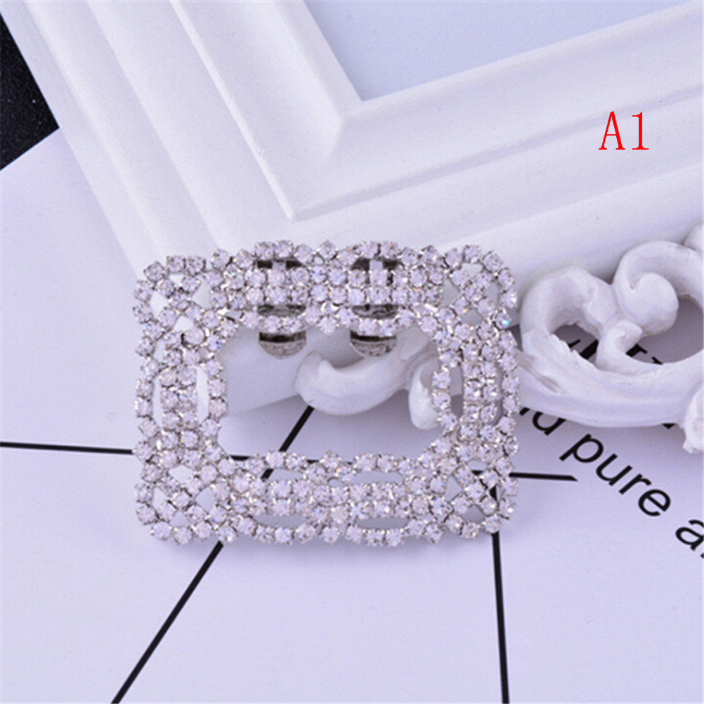 Rhinestone Shoe Square Bowknot Shape Clips Silver Shoes Buckle Elegant For Shoe Decorations 2Styles Fashion For Women Girl italian genuine calf leather watchband for iwatch apple watch 38mm 42mm series 1 2 3 band alligator grain strap wrist bracelet