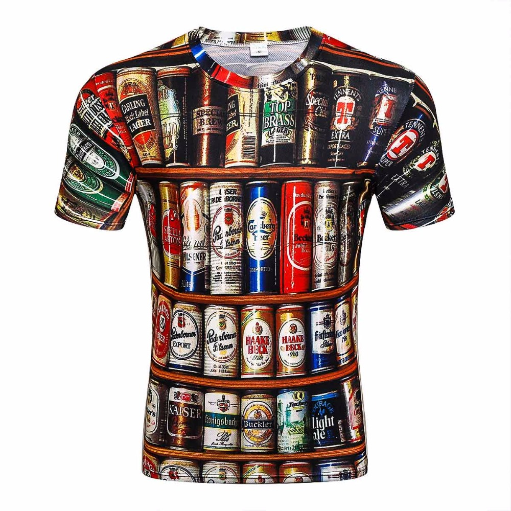 2017 Novelty 3D   t     shirt   Men Cans of beer Printed Hip Hop Crewneck short Sleeve Men/Women   t  -  shirt   tee tops wholesale