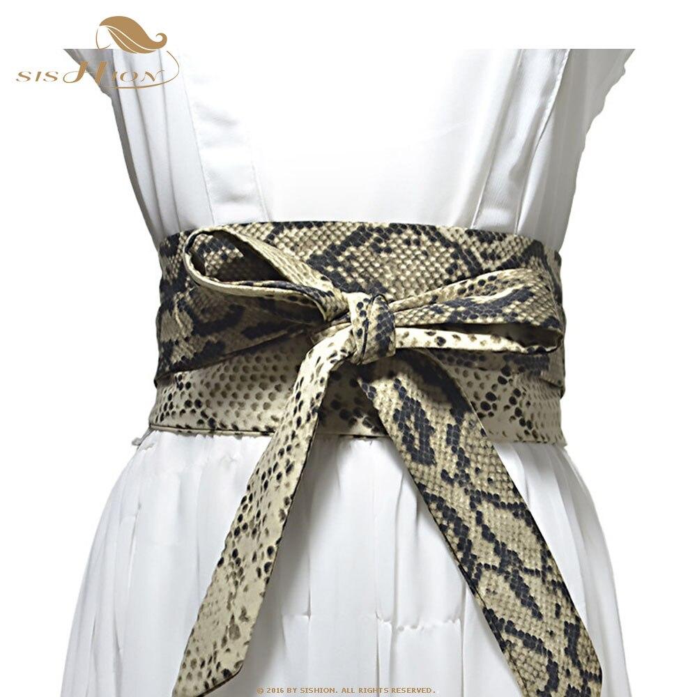 SISHION 2019 Wide Waist Belt Snake Print Leopard Cummerbunds QY0241 Women Slimming Lace-Up Waistband Decoration For Women Dress