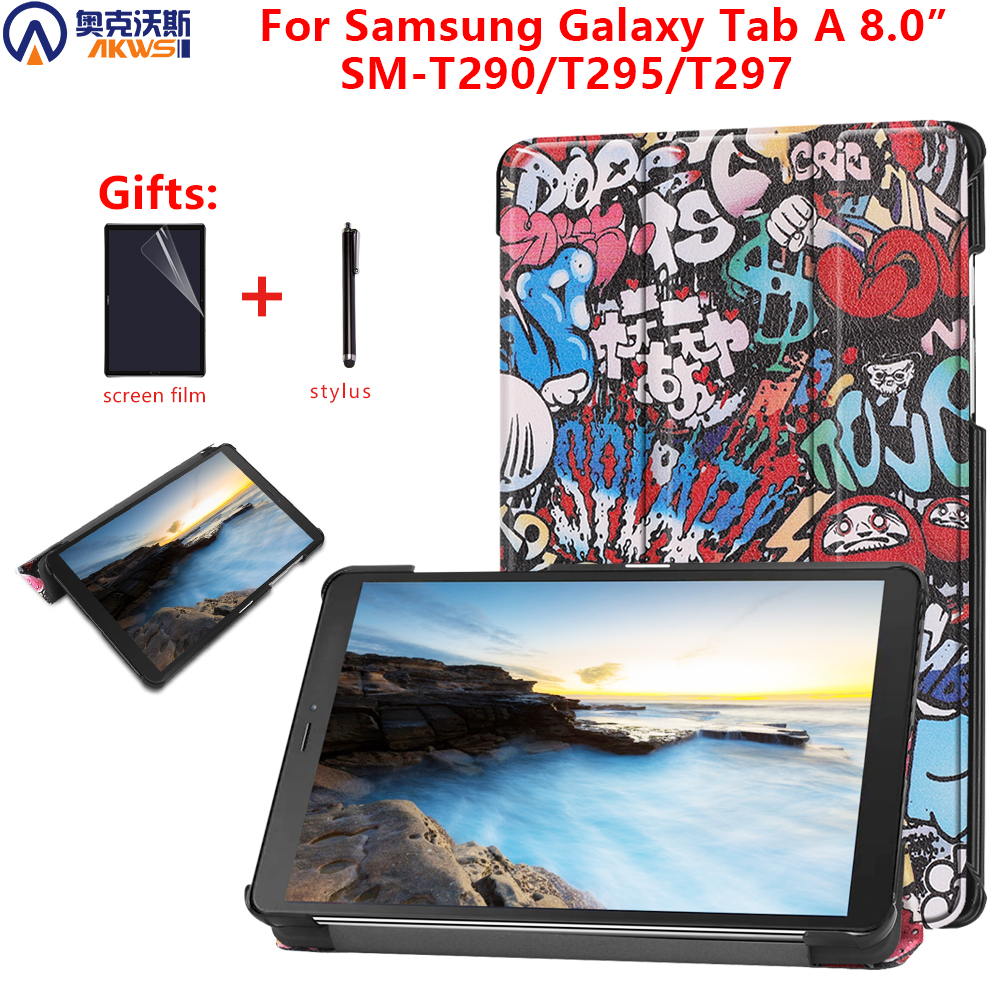 Printed-Cover-Case Galaxy Tab Sm T290 T295 Samsung 8-Protective-Skin PU for Gift Gift