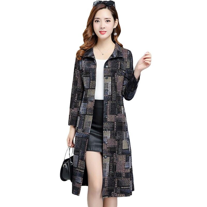 2019 New Spring Autumn Long   Trench   Coat Elegant Korean Plaid Women Slim Long Plus Size Windbreaker coats Female NW1181