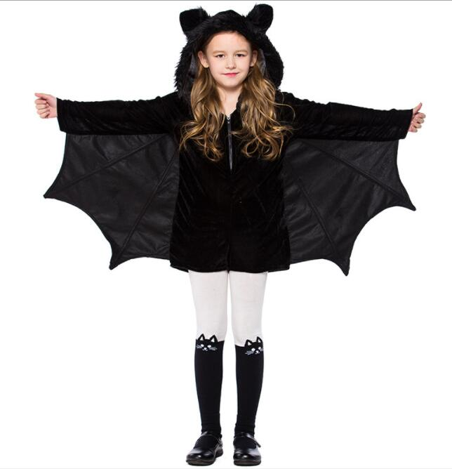 kid girl Animal Cosplay Cute Bat Costume Kids Halloween Costumes Black Zipper Jumpsuit Connect Wings Batman Cloth A008