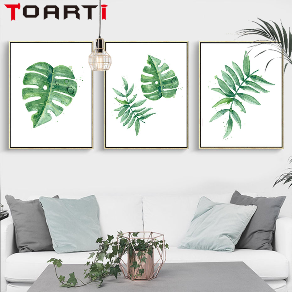 Nordic Green Plant  Tropical Leaves Painting Canvas Wall Prints Wall Art Prints Pictures For Living Room Modern Home Decoration