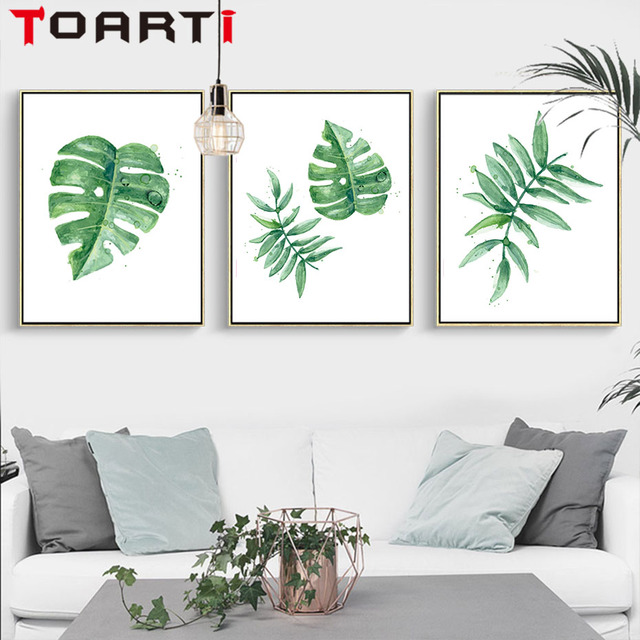 Nordic Green Plant Tropical Leaves Painting Canvas Wall Prints Wall Art  Prints Pictures For Living Room